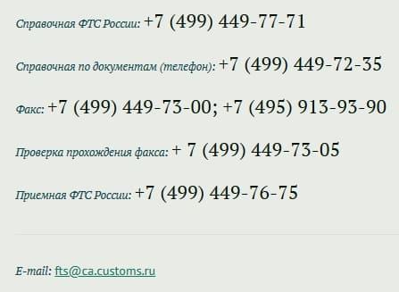 Горячая линия ФТС России