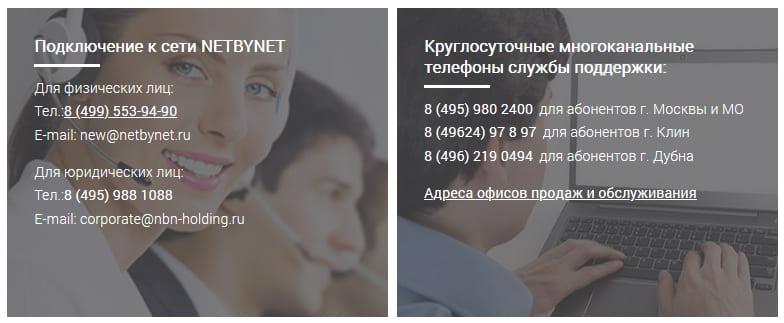 Горячая линия провайдера NetByNet