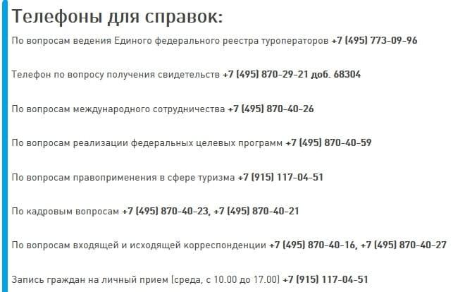 Телефон горячей линии Ростуризма
